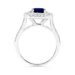 Cushion Sapphire Floating Halo Engagement Ring with Diamond Accents