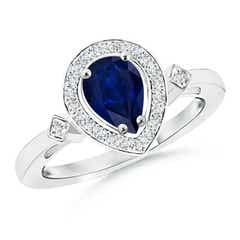 Pear Sapphire Halo Ring with Diamond Accents