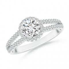 Split Shank Round Diamond Halo Engagement Ring