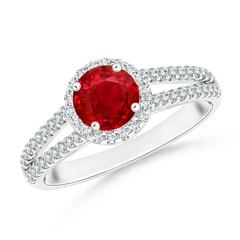 Twin Shank Ruby Halo Ring with Diamond Accents
