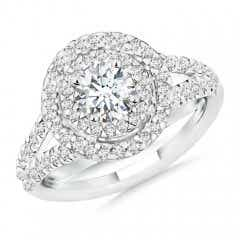 Double Halo Diamond Split Shank Ring
