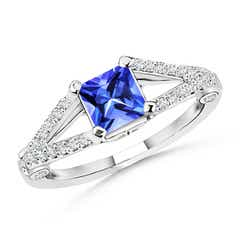 Angara Solitaire Tanzanite Crossover Shank Ring with Diamond in 14k Rose Gold