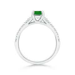 Toggle Solitaire Square Emerald Ring with Diamond Accents