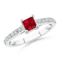 Solitaire Square Ruby Ring with Diamond Accents