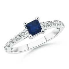Solitaire Square Sapphire Ring with Diamond Accents