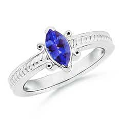 Vintage Inspired Marquise Tanzanite Solitaire Ring