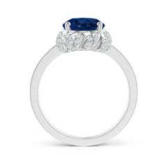 Toggle Oval Blue Sapphire and Diamond Halo Ring