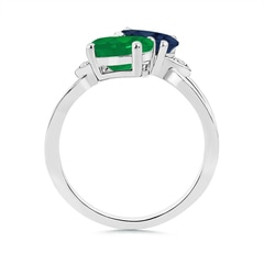 Toggle Two Stone Oval Emerald and Sapphire Split Shank Ring