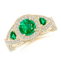 Emerald Criss Cross Ring with Diamond Halo