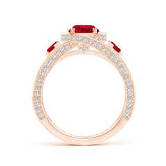 Toggle Ruby Criss Cross Ring with Diamond Halo