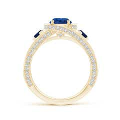 Toggle Blue Sapphire Criss Cross Ring with Diamond Halo