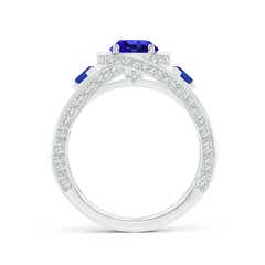 Toggle Tanzanite Criss Cross Ring with Diamond Halo