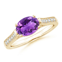 East West Set Oval Amethyst Solitaire Ring with Diamond Accents