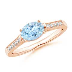 East-West Oval Aquamarine Solitaire Ring with Diamonds