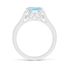 Toggle East-West Oval Aquamarine Solitaire Ring with Diamonds