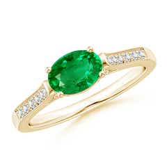East West Set Oval Emerald Solitaire Ring with Diamond Accents