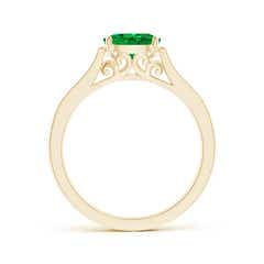 Toggle East West Oval Emerald Solitaire Ring with Diamonds