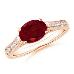 East-West Oval Garnet Solitaire Ring with Diamonds