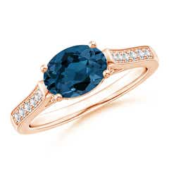 East-West Oval London Blue Topaz Solitaire Ring with Diamonds