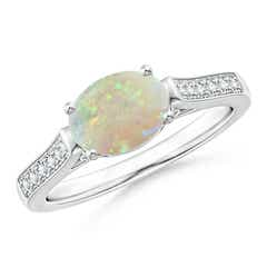 East-West Oval Opal Solitaire Ring with Diamonds