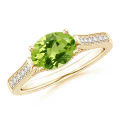 East-West Oval Peridot Solitaire Ring with Diamonds