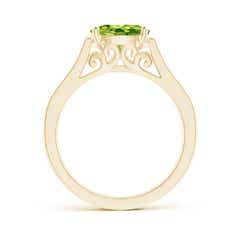 Toggle East-West Oval Peridot Solitaire Ring with Diamonds