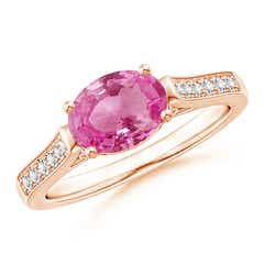 East West Set Oval Pink Sapphire Solitaire Ring with Diamond Accents