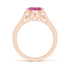 Toggle East-West Oval Pink Sapphire Solitaire Ring with Diamonds