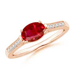East-West Oval Ruby Solitaire Ring with Diamonds