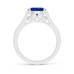 East West Set Oval Blue Sapphire Solitaire Ring with Diamond Accents