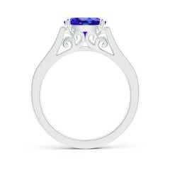 Toggle East-West Oval Tanzanite Solitaire Ring with Diamonds