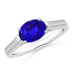 East-West Oval Tanzanite Solitaire Ring with Diamonds
