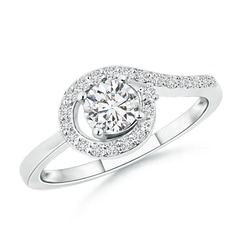 Solitaire Round Diamond Spiral Halo Engagement Ring