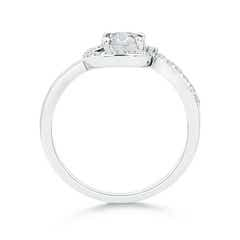 Toggle Solitaire Round Diamond Spiral Halo Engagement Ring