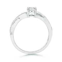 Toggle Solitaire Round Diamond Criss Cross Shank Ring