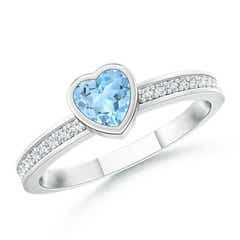 Bezel Heart Aquamarine Promise Ring with Diamond Accents
