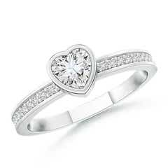 Bezel Set Heart Diamond Promise Ring