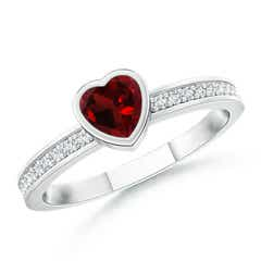Bezel Heart Garnet Promise Ring with Diamond Accents