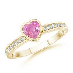 Bezel Heart Pink Sapphire Promise Ring with Diamond Accents