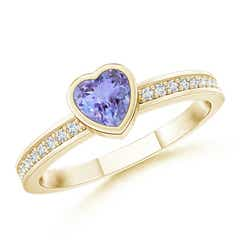 Bezel Heart Tanzanite Promise Ring with Diamond Accents