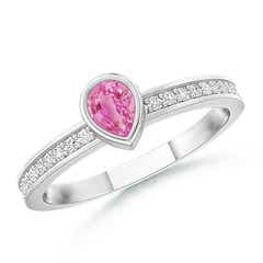 Bezel Pear Pink Sapphire Stackable Ring with Diamond Accents