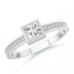Bezel-Set Princess Diamond Stackable Promise Ring
