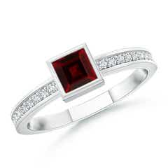 Bezel-Set Square Garnet Stackable Promise Ring
