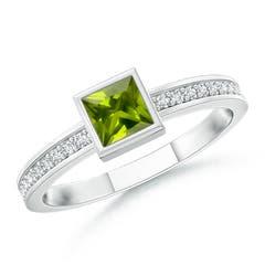 Bezel-Set Square Peridot Stackable Promise Ring