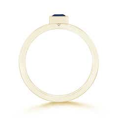 Toggle Bezel-Set Square Blue Sapphire Stackable Promise Ring