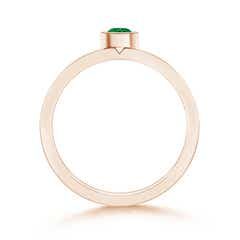 Toggle Bezel Round Emerald Stackable Ring with Diamond Accents
