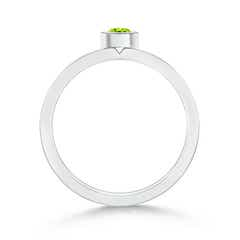 Toggle Bezel Round Peridot Stackable Ring with Diamond Accents