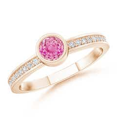 Bezel Round Pink Sapphire Stackable Ring with Diamond Accents
