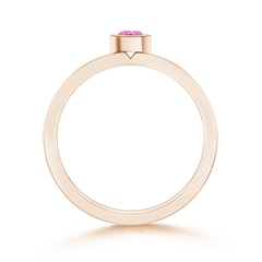 Toggle Bezel Round Pink Sapphire Stackable Ring with Diamond Accents
