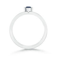 Toggle Bezel Round Sapphire Stackable Ring with Diamond Accents